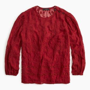 NWT J. Crew Mixed Embroidery Drapey Top Ruby XS
